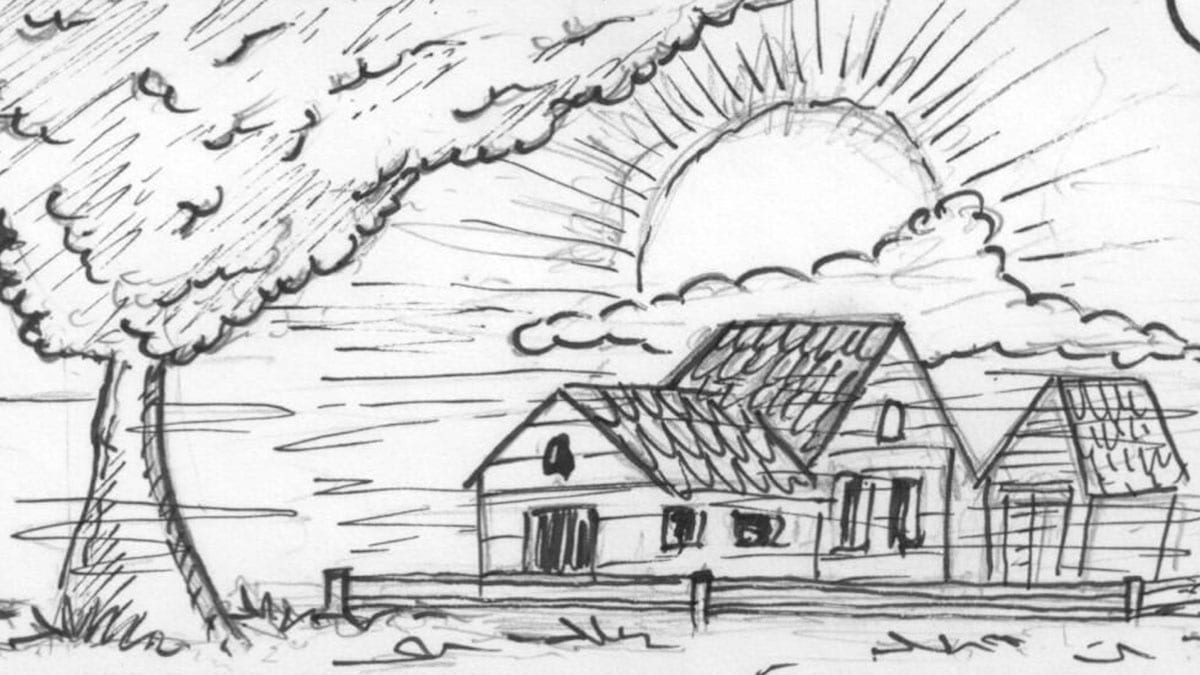 Storyboard schets van de zon die achter een huis opkomt
