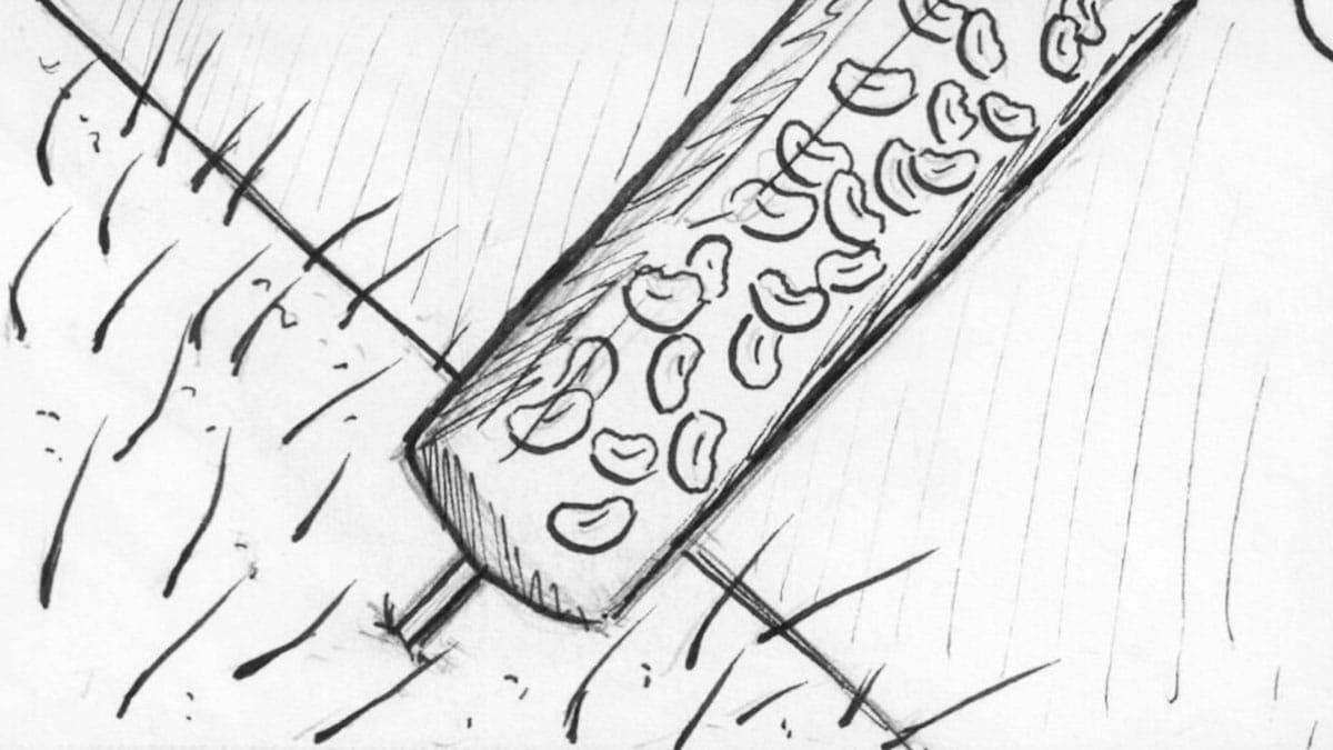 Storyboard schets van een bloedafname