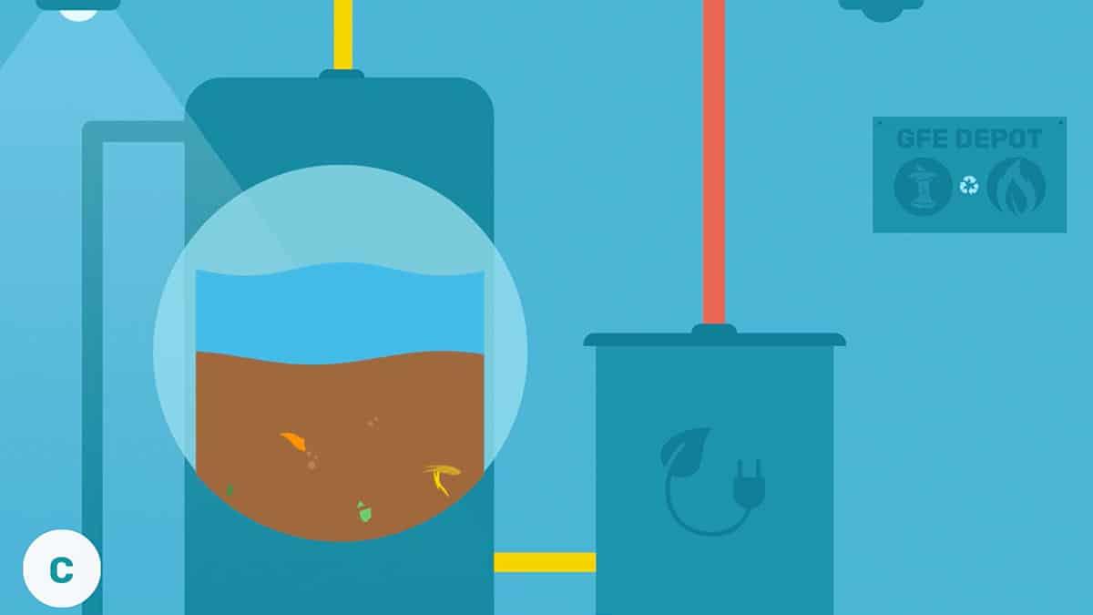 In een ton worden de afvalreste in stroom verwerkt