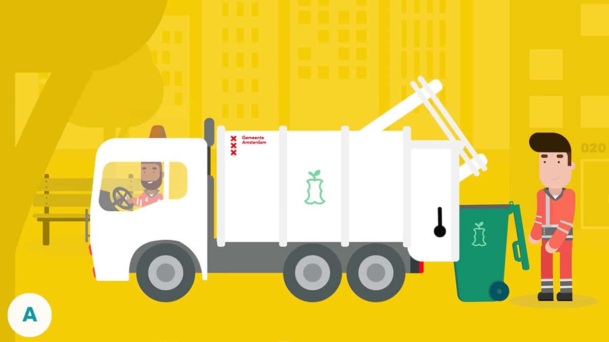 Een vrachtwagen haalt de afval op in de Gemeente Amsterdam