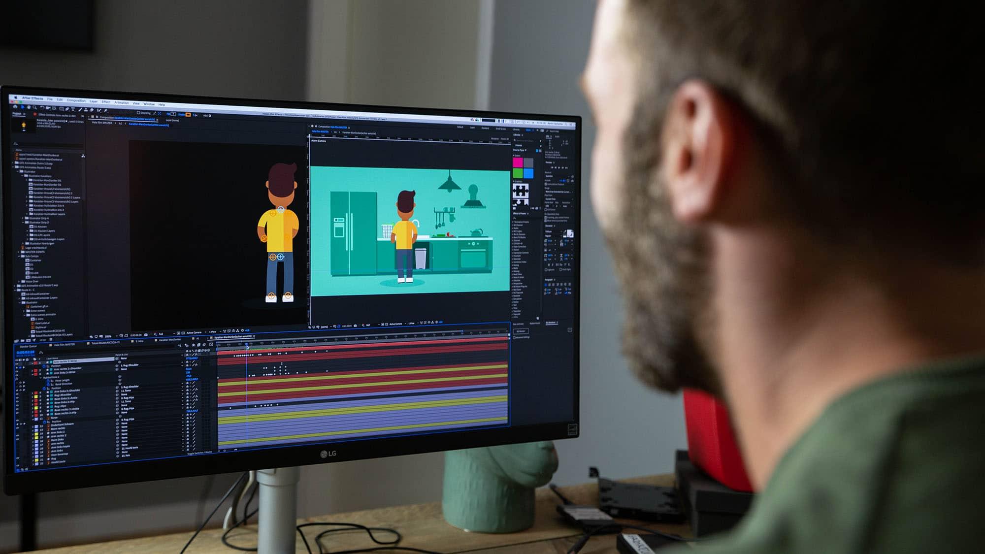 Kevin animeert de poppetjes voor de animatie voor de Gemeente Amsterdam