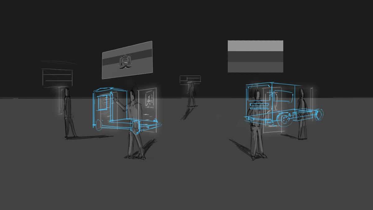 Storyboard schets waarbij medewerkers van verschillende landen de leveringen van vrachtwagens inleiden