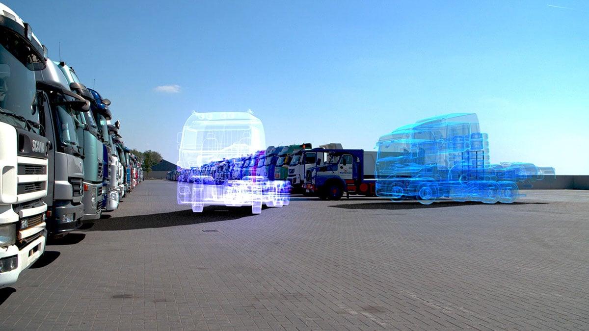 Hologram vrachtwagen die uit een parkeervak rijdt