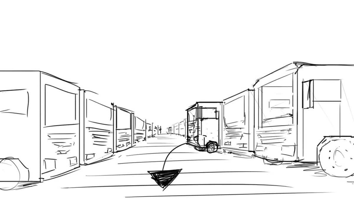 Storyboard schets van een vrachtwagen die uit een parkeervak rijdt