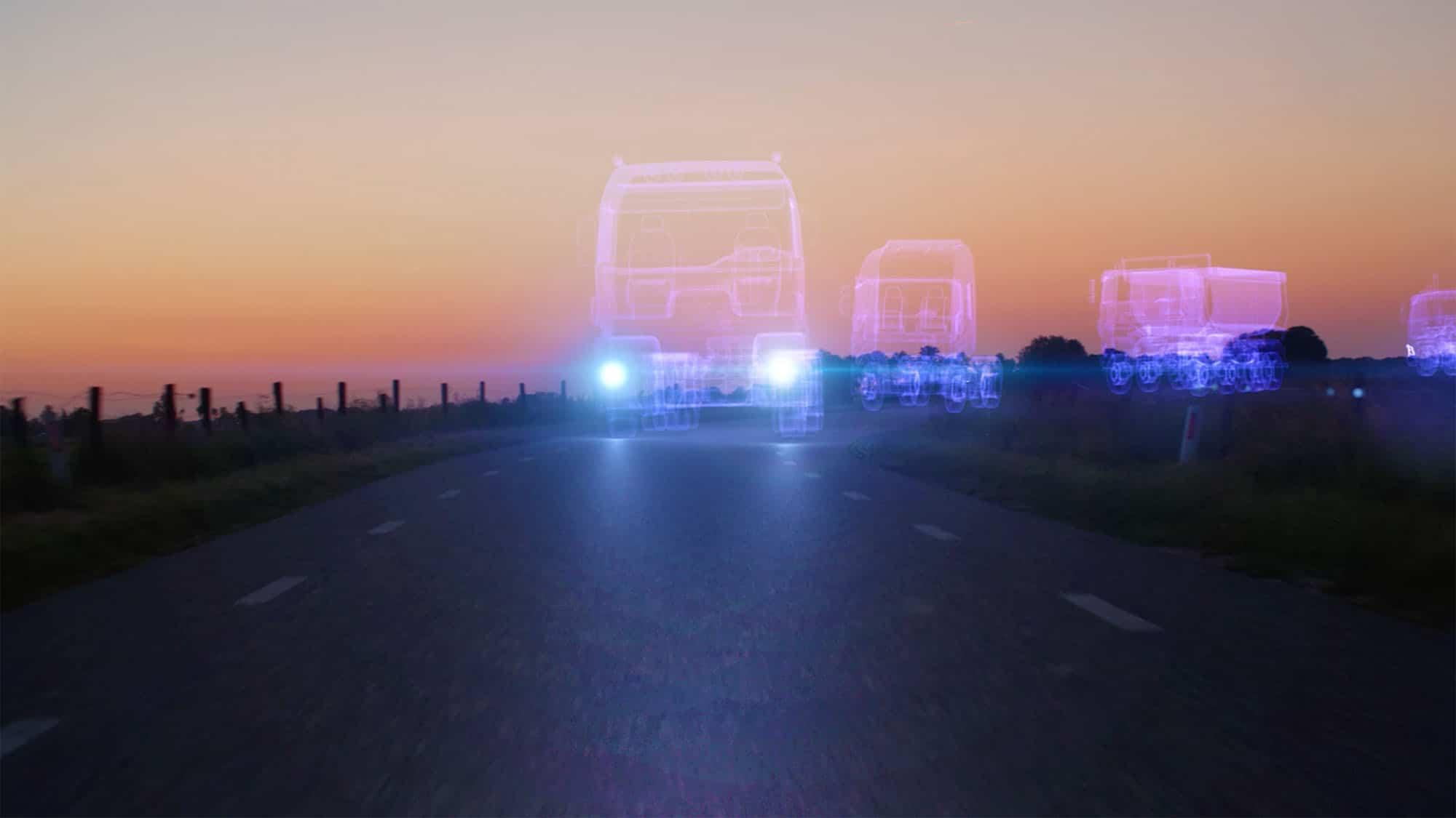 Holograms van vrachtwagen die over straat rijden