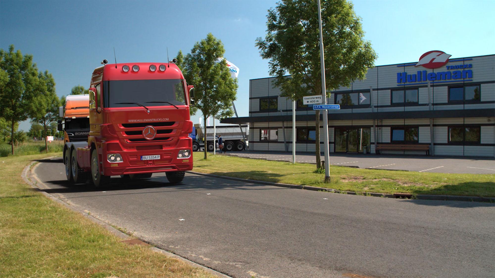 3D animatie van een vrachtwagen voor het gebouw van Hulleman Trucks