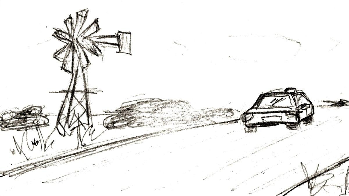 Storyboard schets van een auto die langs een molentje rijdt