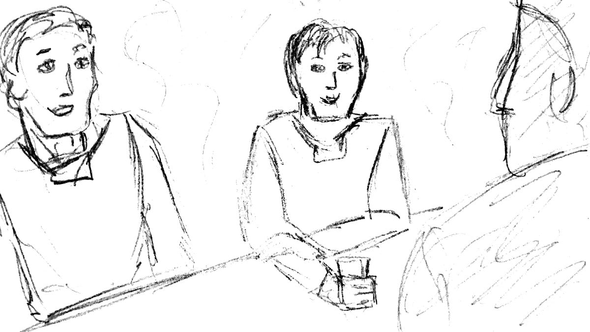 Stoaryboard schets van personeel die in de kantine zit