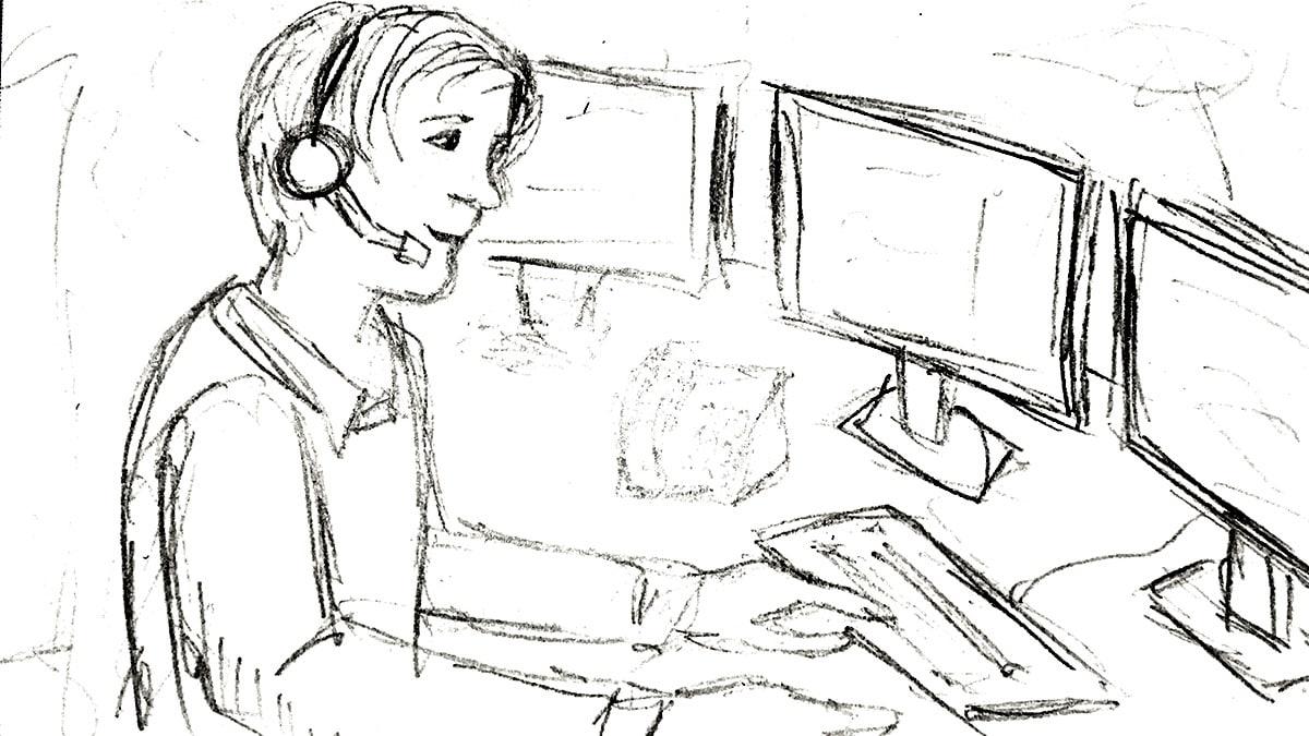 Storyboard schets van een medewerker met headset